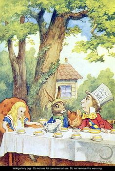 The Mad Hatters Tea Party, illustration from Alice in Wonderland by Lewis Carroll 1832-9 - John Tenniel
