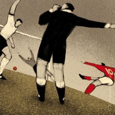 History of the World Cup Illustration Series from Davide Bonazzi. World Cup Illustration England 1966 Geoffrey Hurst scores the goal that never crossed the line in extra time against west germany
