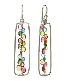 looks like stained glass - wire and briolette earrings