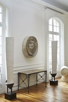Floor lamps by Patrice Dangel (Alexandre Biaggi's edition) / American table center / Bacchus sculpture