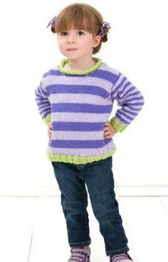 Stripe it Easy Pullover Free Crochet Pattern from Red Heart Yarns