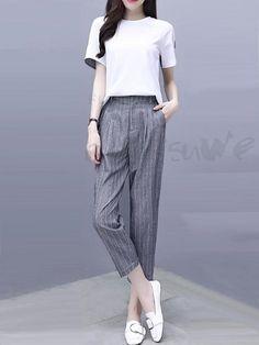 acf7d4b4c8d6a ファッション通販 #Fashion Doresuweストライプ柄切り替えTシャツシンプルレディースパンツファッション発表