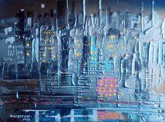 tableau  Mégapole acrylique mixte1609 56 ( 28,8x38,5cm )250grs M.ESTIVAL 2016