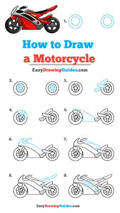 How to Draw a Motorcycle - Really Easy Drawing Tutorial Steve Mcqueen Motorcycle, Steampunk Motorcycle, Pink Motorcycle, Futuristic Motorcycle, Motorcycle Logo, Chopper Motorcycle, Motorcycle Garage, Motorcycle Quotes, Tracker Motorcycle