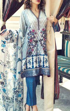 Buy White/Blue Printed Cotton Lawn Shirt by Zeniya Deepak Perwani Lawn Collection 2015.