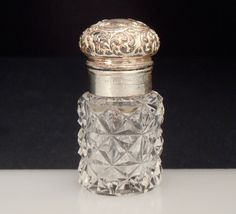 Unger Sterling Silver Cut Glass Perfume Smelling Salts Bottle