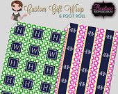 Personalized Gift Wrapping Paper, Custom Monogrammed, Choose Your Colors.