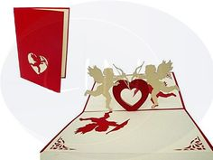 Unsere Hochzeitskarte mit Amor in rot. Mehr entdecken auf: www.lin-popupkarten.de