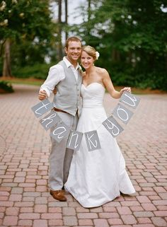 Take a photo on your wedding day and use for your thank you cards / http://www.deerpearlflowers.com/grey-fall-wedding-ideas/