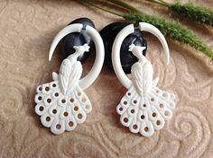 "Fake Gauge Earrings, ""Feathered Peacock"" Naturally Organic, Bone, Hand Carved, Tribal. $42.00, via Etsy."