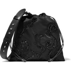 Prada Leather-trimmed embellished shell shoulder bag ($1,550) ❤ liked on Polyvore featuring bags, handbags, shoulder bags, black, beaded handbag, sequin handbags, shoulder handbags, embellished handbags and drawstring purse