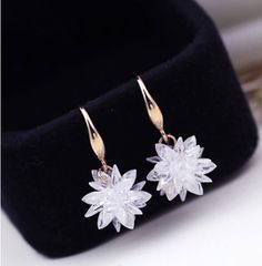18K/White Gold Plated 100% Austria Crystal Flower Design Drop Earrings For Women Fashion Party Jewelry Boucle D'oreille Femme