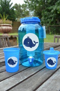 Preppy Whale Blue Beverage Dispenser by ihaveafavor on Etsy, $10.00