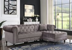 """Acme 57325 2 pc Brayden studio adnelis gray velvet fabric tufted design sectional sofa with chaise. Features pocket coil seating and turned legs. Sectional measures 95"""" x 34"""" D x 61"""" L chaise x 32"""" H. Some assembly may be required."""