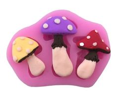 Mushrooms 3 Cav 3 Styles Silicone Mold For Fondant Gum Paste Chocolate Crafts