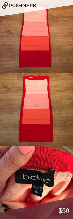 Bebe Coral Combo Strapless Bandage Dress Perfect condition, one TINY snag as pictured, easily reversible. Make a statement in this sexy strapless number ! 15% off bundles of 2+ 😉. Suggested user, shop with confidence. Happy poshing ! 😁🌷 bebe Dresses Strapless
