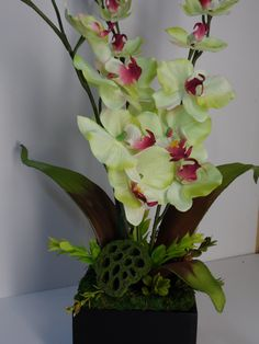 Orchid Arrangement, Light Green Colored Orchid Arrangement, Elegant Orchid Arrangement, Orchid Floral Arrangement, Elegant Table Arrangement by BeautifulHomeAccents on Etsy