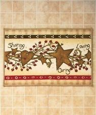 Country Hearts And Stars Berries Folk Art Primitive Bath Rug