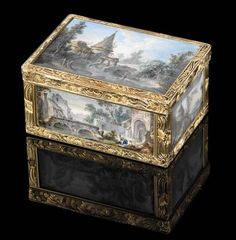 struck with two Parisian post-1838 restricted warranty marks for gold, the miniatures by Louis-Gabriel Moreau (1740-1806)<br>Rectangular box, the cover, four sides and base inset with glazed gouache on vellum miniatures finely painted with rural views, the gold cagework mounts chased with foliage and fluted scrolls, the inside gold-lined<br>3 3/8 in. (86 mm.) wide