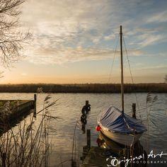 Boat at sunset on the river Thurne in Sunset Photography, Fine Art Photography, Landscape Photography, Sunset Images, Photography Workshops, Us Images, Norfolk, Sunrise, Original Art