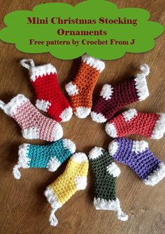 Ideas For Crochet Christmas Stocking Ornament Projects Crochet Ornament Patterns, Crochet Christmas Stocking Pattern, Crochet Stocking, Crochet Tree, Crochet Christmas Decorations, Crochet Christmas Ornaments, Christmas Knitting Patterns, Holiday Crochet, Stocking Ornaments