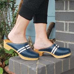 Items similar to Vintage Women's Blue Leather Clogs Boho Wooden Clogs on Etsy Wooden Clogs, Leather Pieces, Clogs Shoes, Unique Shoes, Leather Clogs, Fashion Tips For Women, Cool Suits, Vintage Ladies, Etsy
