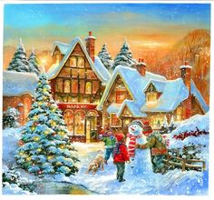 Christmas Scenes, Christmas Past, Christmas Pictures, Vintage Christmas, Winter Images, Winter Pictures, Christmas Artwork, Christmas Wallpaper, Jim Mitchell