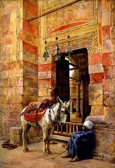 Egypt , Old Cairo Paintings: Eugene Alexis Girardet (French , 1853 - 1907) - Outside the Mosque