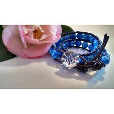 Ice Blue Leather Wrap Bracelet with Royal Blue Glass Beads and Crystal... (705 UYU) via Polyvore featuring jewelry, bracelets, boho jewelry, blue bangles, leather wrap bracelet, royal blue jewelry y bohemian bangles