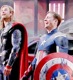 (GIF) when your feeling down...here's two superheros in spandex laughing.