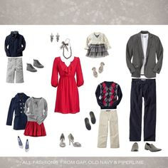 holiday clothing ideas what to wear Christmas pictures photography red grey silver navy