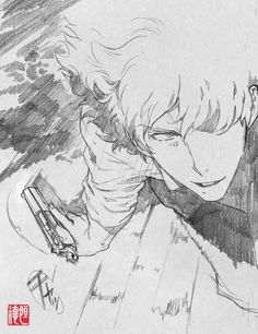 Cowboy Bebop:The Movie & Sword of the Stranger sketches by Saito Tsunenori - animated by - Yutaka Nakamura.