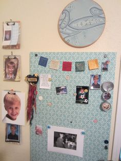 fabric covered magnetic board, picture frame clipboards and embroidery loop art