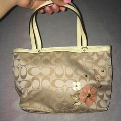 COACH floral appliqué top handle tote From their signature collection , brand new , never used still with tags Coach Bags Mini Bags