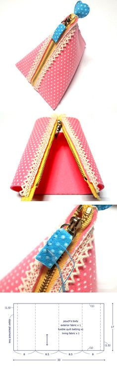 Sewing Tutorials Free How to Sew Triangle Pouch Tutorial. Step by step illustration tutorial. Dress Sewing Tutorials, Sewing Hacks, Sewing Ideas, Sewing Tips, Bag Tutorials, Bags Sewing, Purse Patterns, Sewing Patterns, Diy Bags Purses