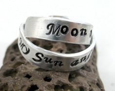 My Sun and Stars, Moon of my Life - Hand Stamped, Adjustable Aluminum Rings, Game of Thrones Inspired, Danaerys and Drogo