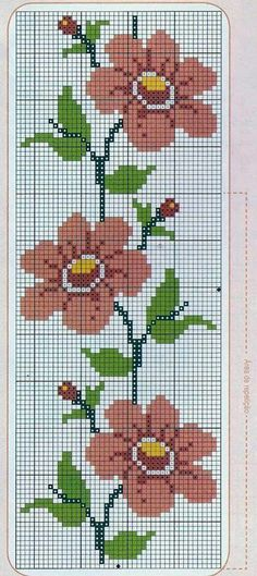 Here you can look and cross-stitch your own flowers. Cross Stitch Bookmarks, Cross Stitch Borders, Modern Cross Stitch Patterns, Cross Stitch Flowers, Cross Stitch Charts, Cross Stitch Designs, Cross Stitching, Cross Stitch Embroidery, Embroidery Patterns