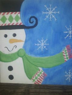 Cute snowman canvas paint idea for wall decor. Canvas painting. Wall art. Christmas. Winter. Snowflakes. Frosty the snowman.