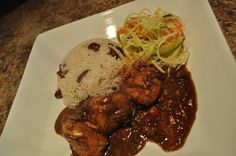 Brown Stew Chicken & Rice and Peas