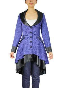 Image of Blue Plus Size Jacquard and Satin Coat