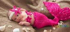 Mermaid Hot Pink Photography Prop Summer Beach Ocean Halloween Costume Newborn Infant