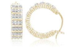 1/8 Carat Diamond Row Detail 18K Gold Over Sterling Silver 18mm Hoop Earrings