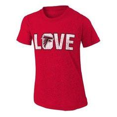ATLANTA FALCONS YOUTH RED 'LOVE' BURNOUT T-SHIRT