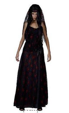 Ladies Costume Fancy Dress Up SW Halloween Goth Bride, Black Wedding sz 10,12,14 #FullOutfits