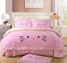YOYOMALL Cartoon Duvet Cover Set for Teen Girls,Princess Bow-knot Ruffle Bedding Sets,Pink/Blue Sheet Sets Full Queen Size (Queen, Pink)
