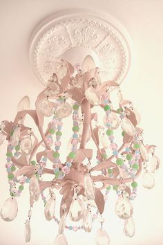 Another view of the beaded garland on the chandelier