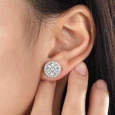 6.00Ct Halo Stud Earrings Round Brilliant Cut Diamond 18K White Gold Screw Back #Halo #Stud