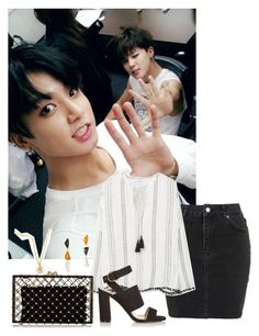 """""""-Hanging w/ Jikook-"""" by daddyslittlestprincess on Polyvore featuring Topshop, MANGO, Lizzie Fortunato and Charlotte Olympia"""