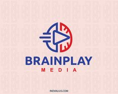 Abstract logo with the shape of a brain together with a play icon with orange and blue colors. (brain, digital media, production, music, video, science, play, film, abstract, app,  logo for sale, logo design, logo, lototipo, logotype).