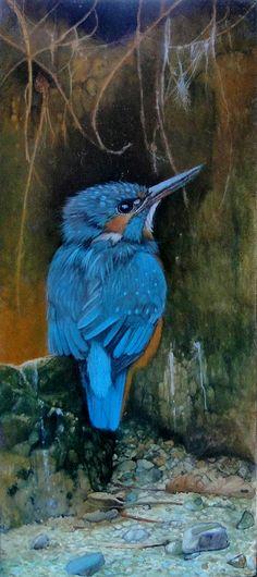 """Op de uitkijk"" by Gabriel Gressie 9 x 21 cm oil on panel"